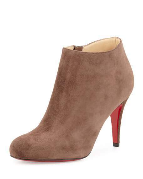 Christian Louboutin  Christian Louboutin Belle Suede Red Sole Bootie, Chatain