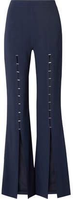 Jonathan Simkhai Embellished Stretch-crepe Flared Pants - Midnight blue