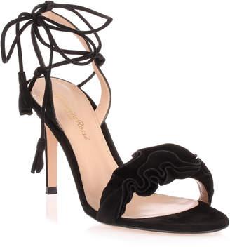 Gianvito Rossi Flora 85 black suede sandal
