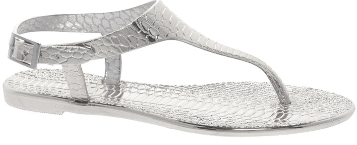 River Island Silver Jelly Sandals