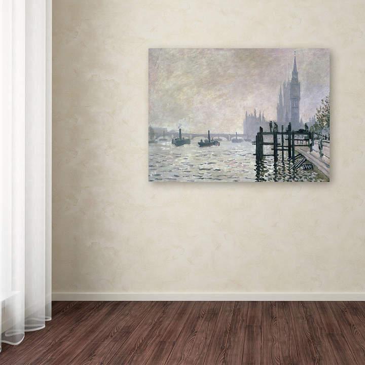 Trademark Fine Art 16'' x 24'' ''The Thames Below Westminster'' Canvas Wall Art by Claude Monet