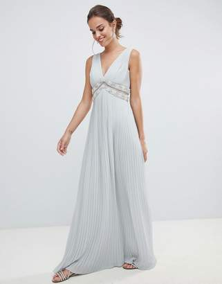 Asos DESIGN pleated maxi dress with embellished trim