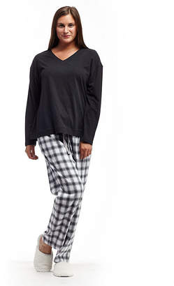 La Cera Plus-Size Checkered Flannel PJs