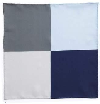 Charles Tyrwhitt Blues Multi Classic Printed Quarter Silk Pocket Square
