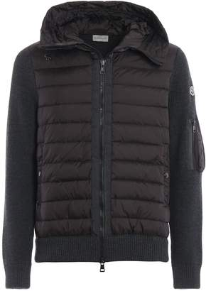 Moncler Puffer Nylon Hood And Front Zip Knit Cardigan