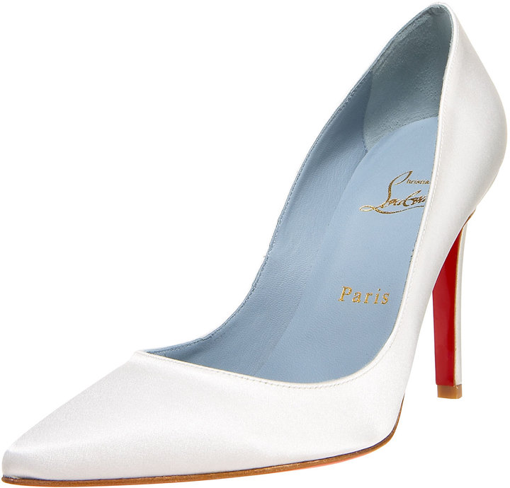 Christian Louboutin Pointed-Toe Satin Pump