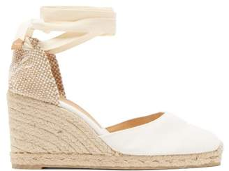 Castaner Carina 80 Canvas & Jute Espadrille Wedges - Womens - White