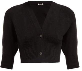 690986daca Miu Miu Cropped Cashmere Cardigan - Womens - Black