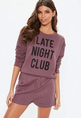 Missguided Mauve Late Night Club Pyjama Set
