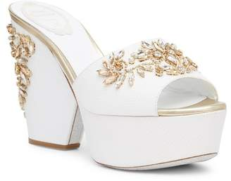 Rene Caovilla Crystal Embellished Platform Sandal