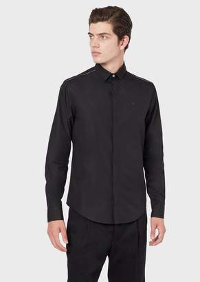 Emporio Armani Poplin Shirt With Piping On The Shoulders