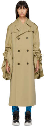 Junya Watanabe Beige Gathered Trench Coat