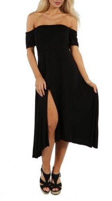 24/7 Comfort Apparel Women's Star Sweep Off Shoulder Dress