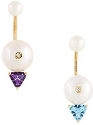Delfina Delettrez 18kt gold Trillion diamond, pearl and topaz earrings