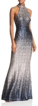 Aqua Ombré Sequined Gown - 100% Exclusive