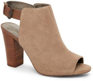 tahari Cabin Taupe Margaret Peep Toe High Heel Open Back Booties $109 thestylecure.com