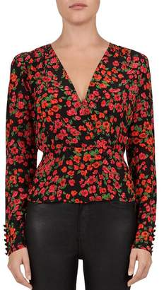 The Kooples Camellia Floral Crossover Silk Blouse