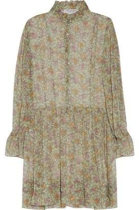 Philosophy di Lorenzo Serafini Ruffled Floral-Print Silk-Chiffon Dress