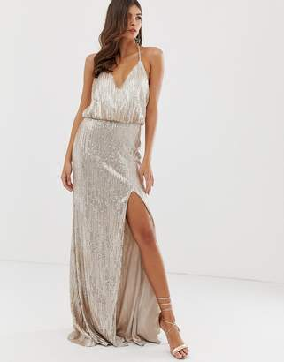 04969eb046d Forever Unique sequin prom maxi gown in champagne