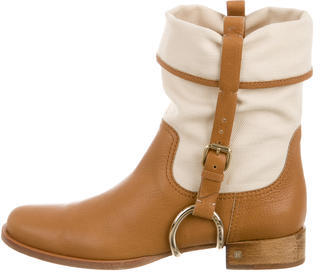 CelineCéline Leather Round-Toe Ankle Boots