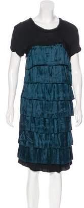 Lanvin Silk-Trimmed Ruffled Dress