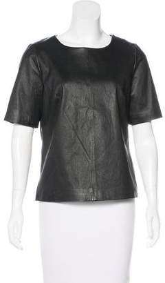 Milly Short Sleeve Leather Top