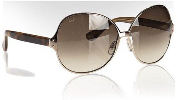 Tod's  rose gold oversized round sunglasses