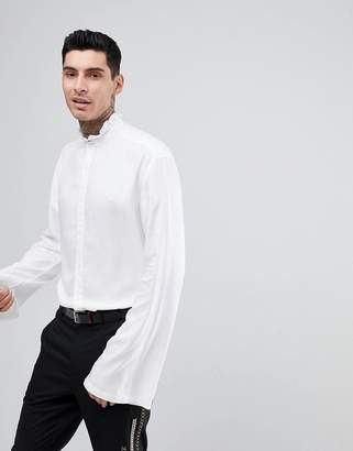 Asos Regular Fit Shirt With Ruched Collar