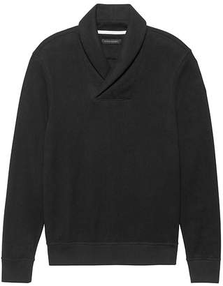 Banana Republic Brushed Waffle-Knit Shawl Collar Sweatshirt