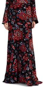 Rebecca de Ravenel Women's Floral Silk Maxi Skirt - Black Pat.
