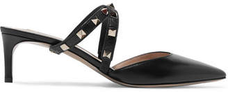 Valentino Garavani Studwrap Leather Mules - Black