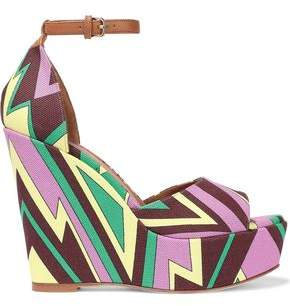 M Missoni Printed Canvas Wedge Sandals