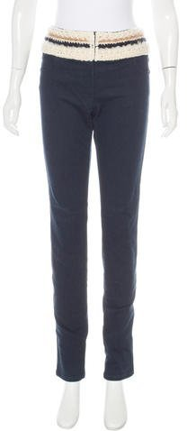 Chanel Chanel Knit-Trimmed Straight-Leg Jeans