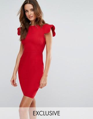 Vesper Pencil Dress With Scallop Sleeve $83 thestylecure.com