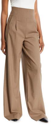 Rosetta Getty High-Waist Pleat-Front Wide-Leg Houndstooth Trousers