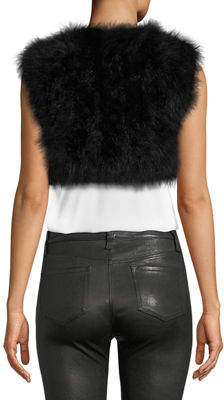 Adrienne Landau Marabou-Feather Cropped Vest