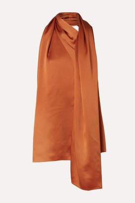 Oscar de la Renta Draped Satin Halterneck Top - Orange