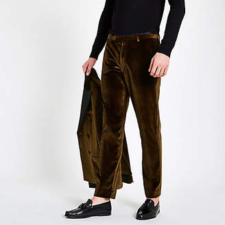 River Island Gold velvet skinny suit pants