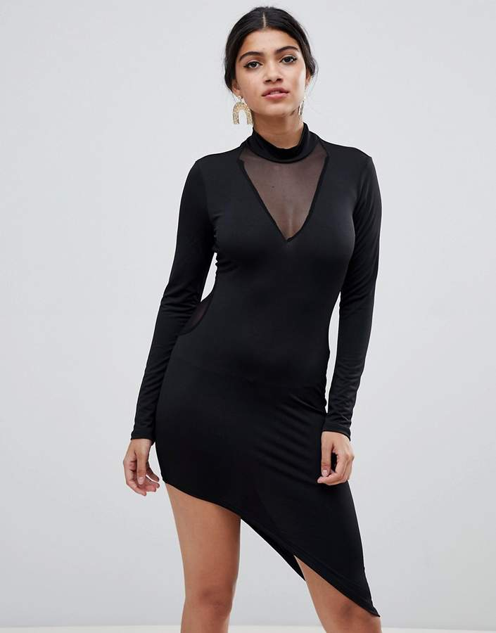Glamorous bodycon dress with asymmetric hem