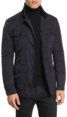 TOM FORD Lightweight Down-Fill 4-Pocket Military Jacket, Navy $3,350 thestylecure.com