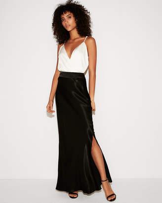 Express High Waisted Satin Maxi Skirt