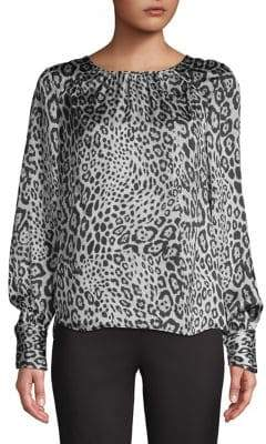 Kasper Suits Cheetah-Print Long-Sleeve Blouse