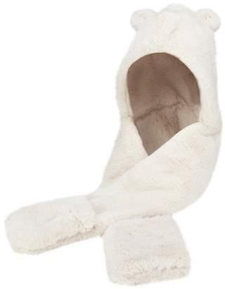 Mantaray - Girls' Cream Faux Fur Hat Scarf