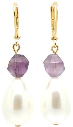 Salome Royal Pearl & Amethyst Earrings