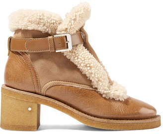 Laurence Dacade Snow Shearling-trimmed Glossed-leather And Suede Ankle Boots - Beige