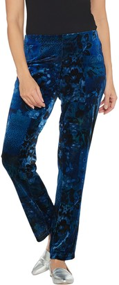 Susan Graver Regular Printed Stretch Velvet Pull-On Pants