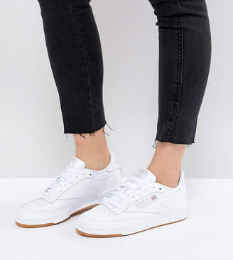 084122c8666 Reebok Classic Club C 85 Sneakers In White Leather With Gum Sole