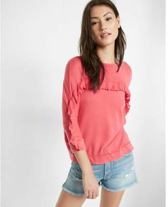 Express one eleven ruffle yoke pullover sweatshirt