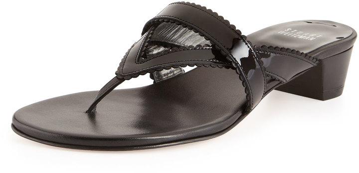 Stuart Weitzman Triango Patent Thong Slide, Black