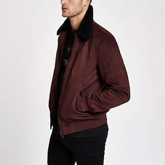 River Island Dark red faux suede fleece collar jacket